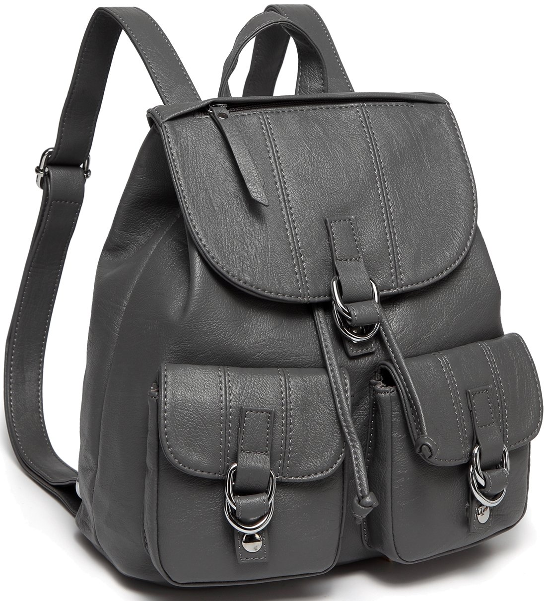 Backpack Purse for Women,VASCHY Fashion Faux Leather Buckle FlapDrawstring Backpack for College with Two Front Pockets Gray by VASCHY