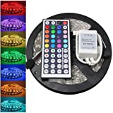 LLguz LED Strip Lights,SMD 5050RGB LEDs Color Changing Light with 44 Keys Remote Controller,Self-Adhesive Flexible Lighting Strips Lamp for Indoor Outdoor,Without Plug,Shipped from USA (Colorful)