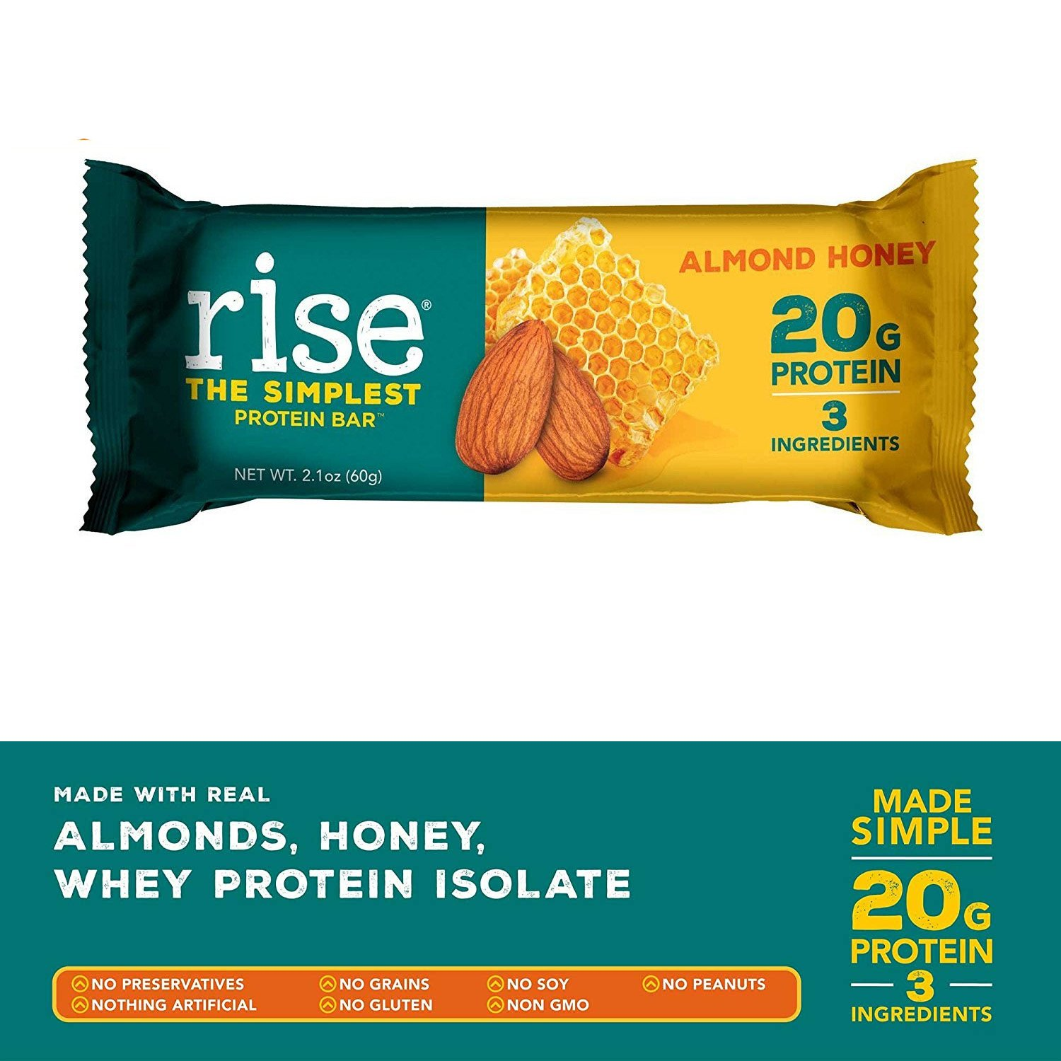 Rise Bar Non-GMO, Gluten Free, Soy Free, Real Whole Food, Whey Protein Bar  (20g), No Added Sugar,