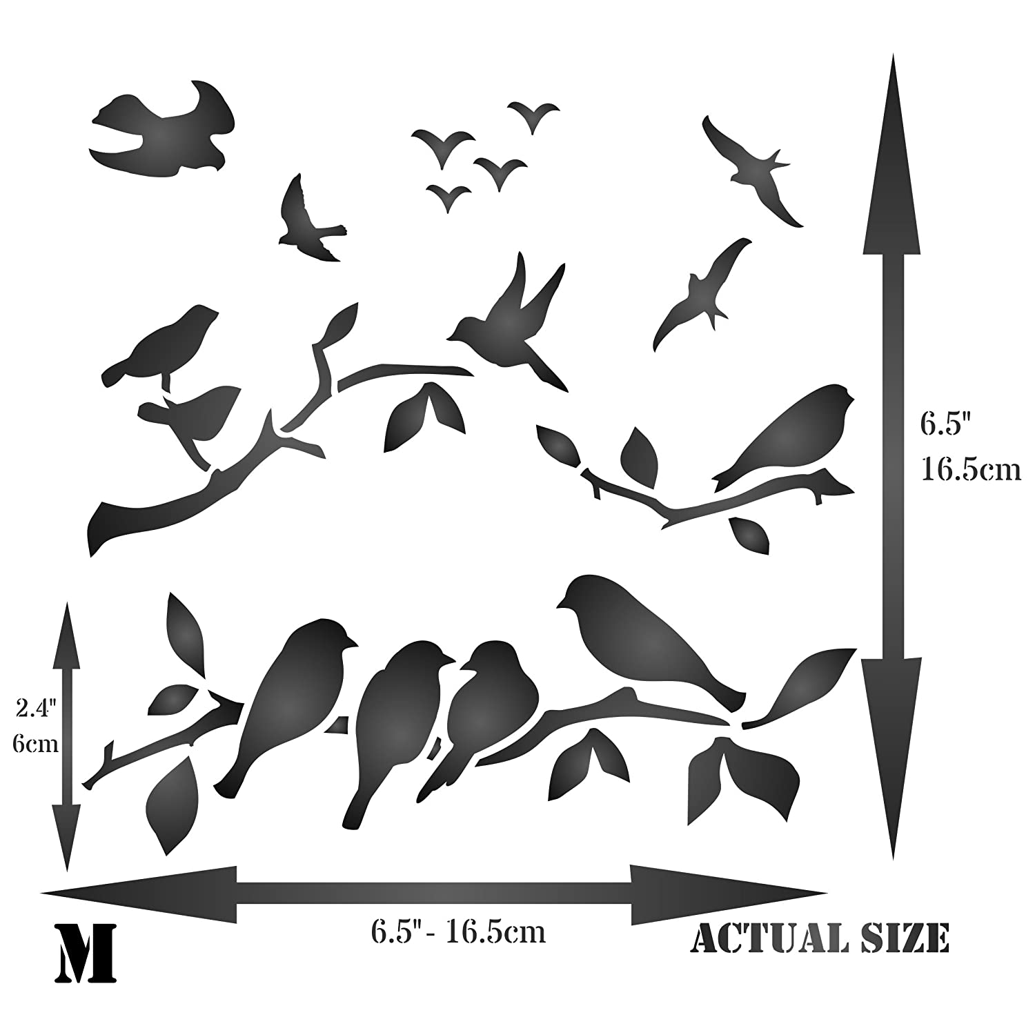627251ea5a99c1 Amazon.com: Birds on Branches Stencil - 6.5 x 6.5 inch (M) - Reusable Bird  Branch Silhouette Stencils for Painting - Use on Walls, Floors, Fabrics,  Glass, ...