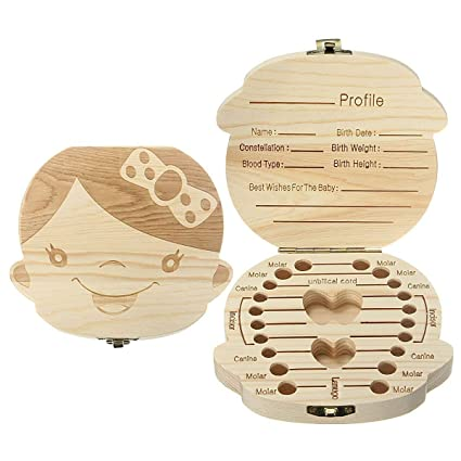 FOFOFLY Baby Tooth Box Wooden Tooth Guardar Cajas Personalizadas Deciduous Souvenir Box, Madera personalizada Baby