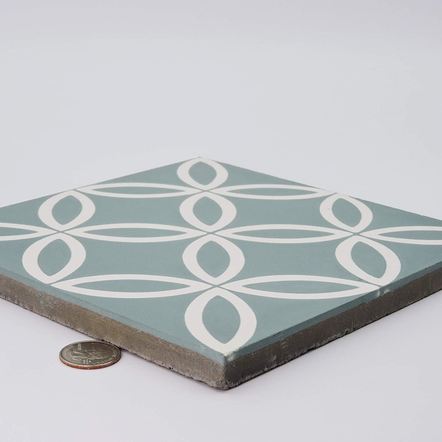 Moroccan Mosaic /& Tile House CTP07-14 Amlo Handmade Cement Tile 8x 8 Green,White