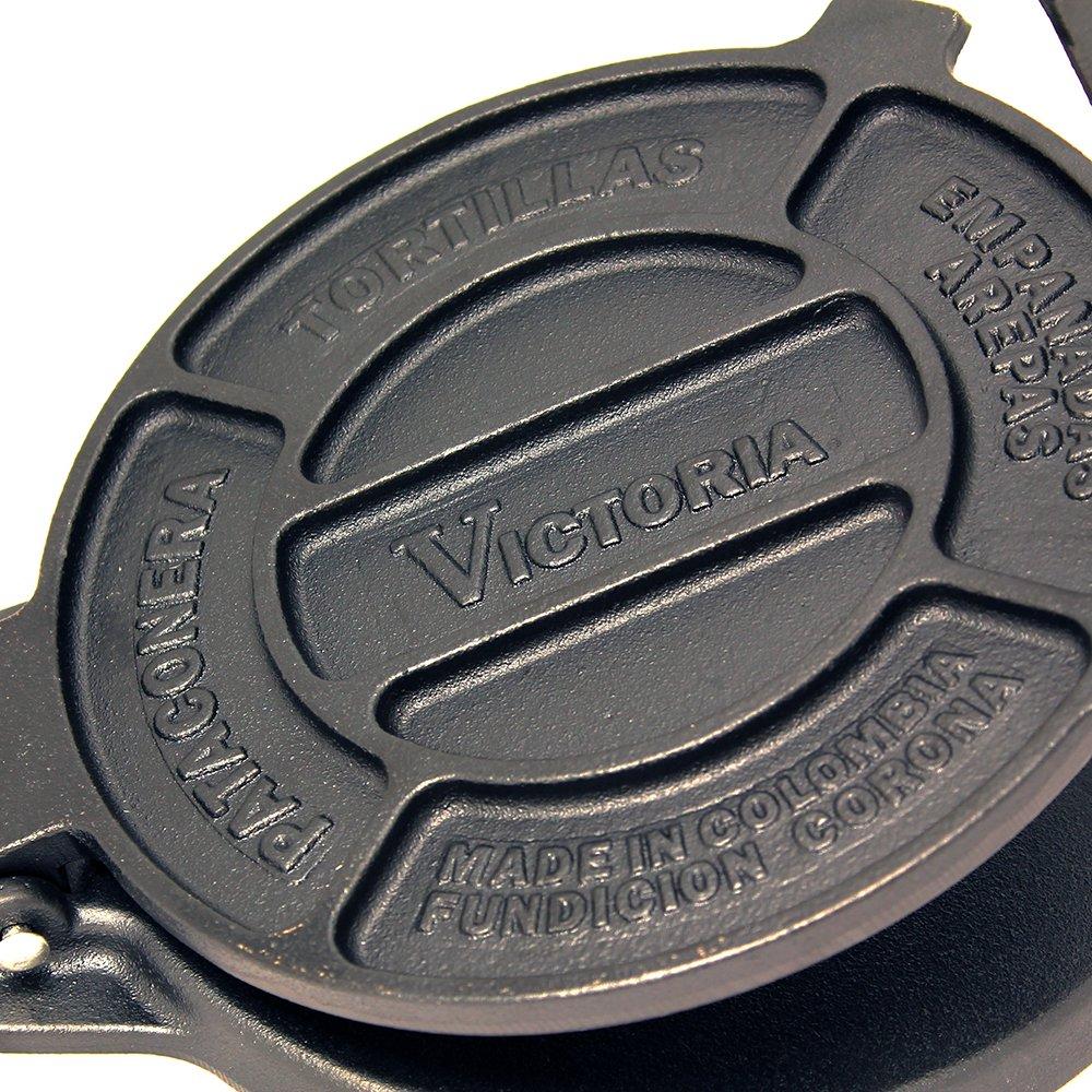Seasoned 8 schwarz Victoria Gusseisen Tortilla Presse und Pataconera Original Made in Colombia
