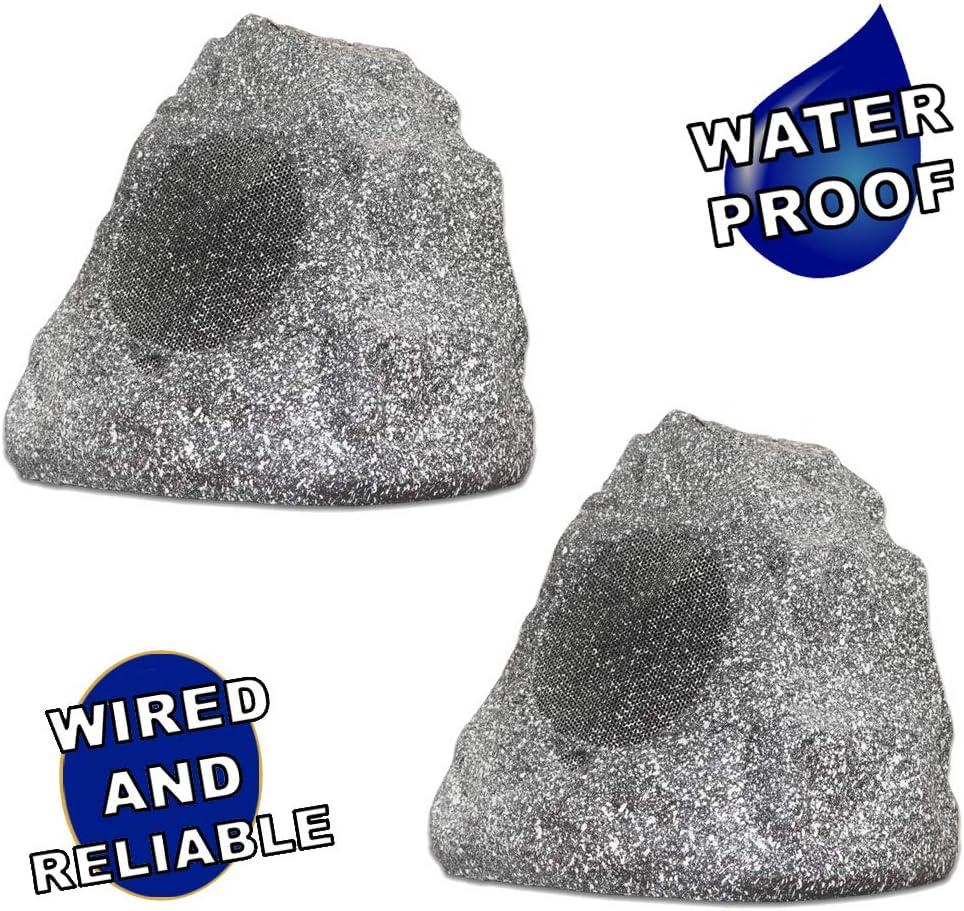 Theater Solutions 2R4G Outdoor Granite Rock 2 Speaker Set for Deck Pool Spa Patio Garden
