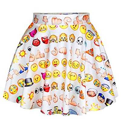 Alaroo Girls Emoji Sun and Monkey Print Light Blue Ruffle Flare Mini Skirt at Women's Clothing store