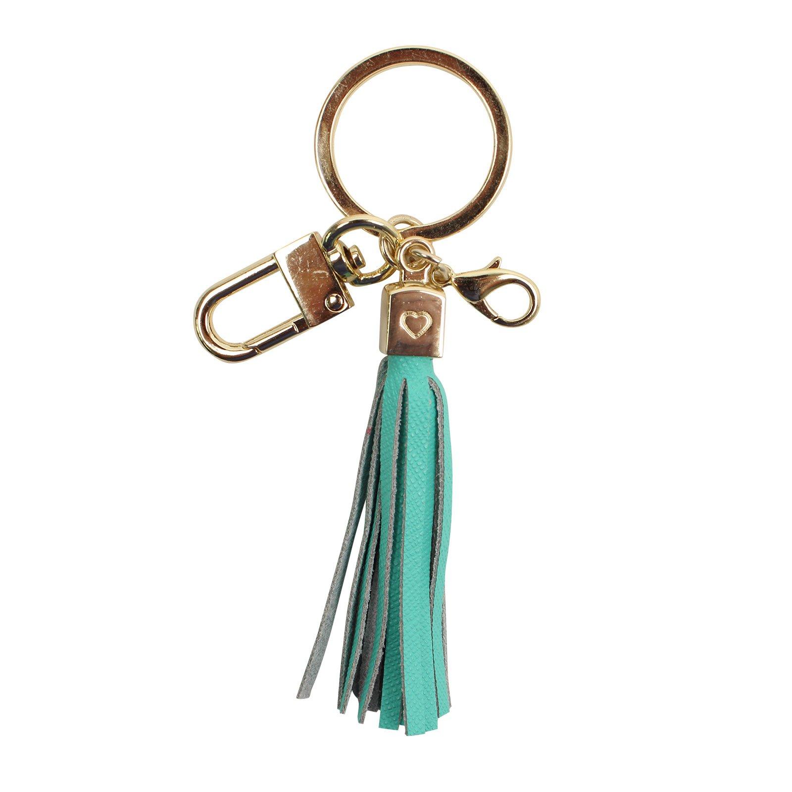 Womens's Leather Tassel Charm Women Handbag Wallet Accessories Key Rings (Mint-Small)