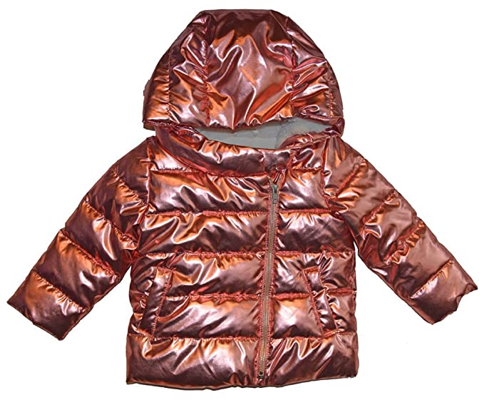 350698383 Image Unavailable. Image not available for. Color: BabyGap Girls Rose Gold  Pink Metallic Puffer Coat ...