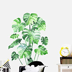 Monstera Leaf Tropical Plants Peel and Stick Wallpaper, Giant Green Palm Tree Leaves Wall Stickers Decals, DIY Wall Art Decor Home Decorations for Living Room Bedroom, 20.8 x 31.4inch