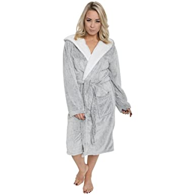 Daisy Dreamer Ladies Shimmer Fleece Robe Luxury Hooded Dressing
