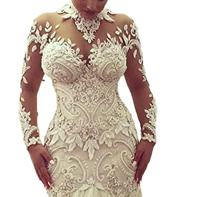 Thrsaeyi Women\'s Modern Long Sleeves Mermaid Wedding Dress Mermaid ...