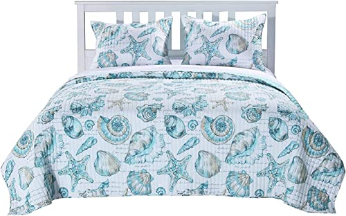 Finely Stitched Coastal Inspired Print Pattern Bedding Luxury Soft Brushed Microfiber Reversible Bedspread Quilt and Shams Set, Aqua Blue Green, Single Twin Size – Includes Bed Sheet Straps