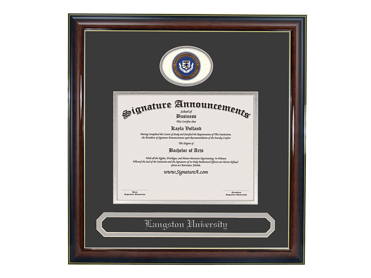 Professional//Doctor Sculpted Foil Seal /& Name Graduation Diploma Frame 16 x 16 Gold Accent Gloss Mahogany Signature Announcements Langston-University Undergraduate