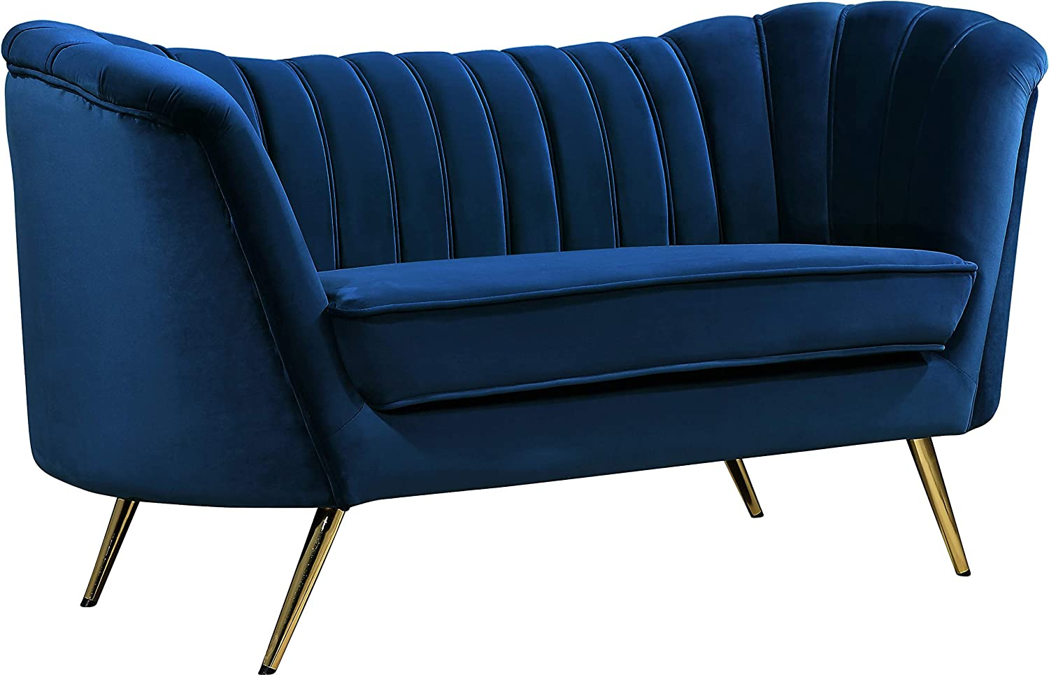 Meridian Furniture Margo Collection Modern | Contemporary Velvet Upholstered Loveseat with Deep Channel Tufting and Rich Gold Stainless Steel Legs, Navy, 65