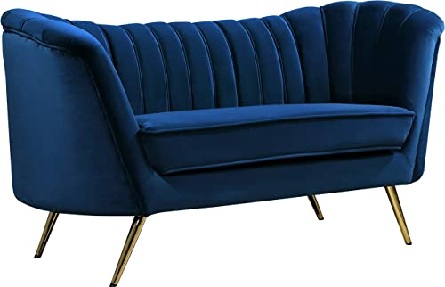 Meridian Furniture Margo Collection Modern Contemporary Velvet Upholstered Loveseat with Deep Channel Tufting and Rich Gold Stainless Steel Legs, Navy, 65 W x 30 D x 33 H