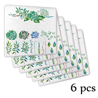Atokker Succulent,Seat Cushion Armchair Chair Cushion Floral Collection Leaves and Flowers Chair Cushion Botany Drawing Print DChair Cushionrative Rocker Glider 6 Pack: Kitchen & Dining
