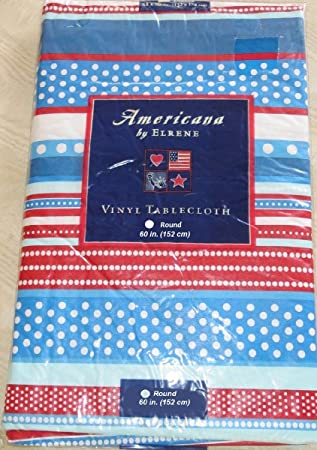 American Patriotic Red White U0026 Blue July 4th Vinyl Flannel Back Tablecloth  60u0026quot; ...