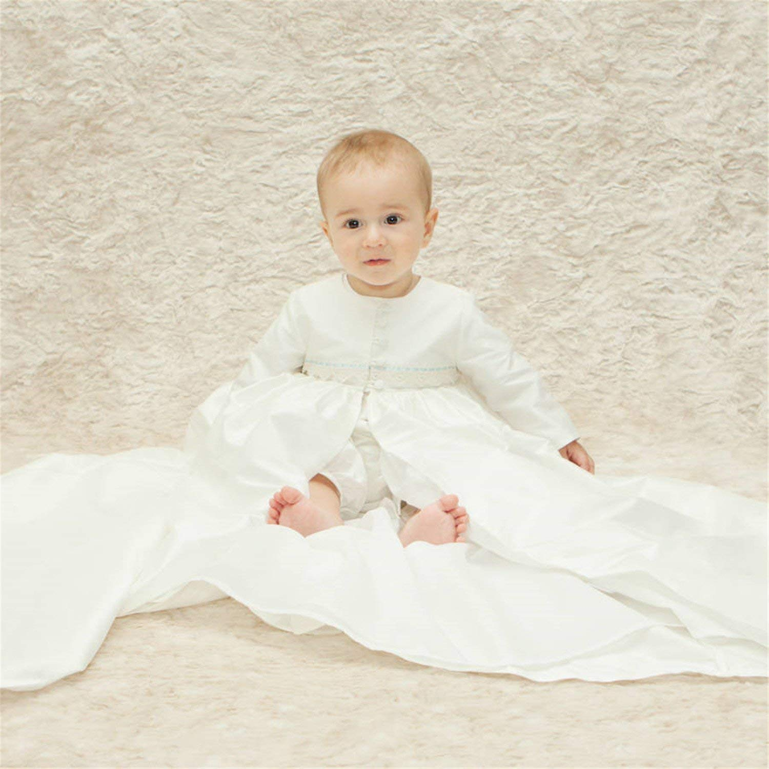 53b087320 ShineGown Ivory Christening Gowns with Bonnet Boy Antique Vintage Baptism  Dress for Baby Size 0-3-6-9-12-18-24M Long Coat Romper Suit: Amazon.co.uk:  ...