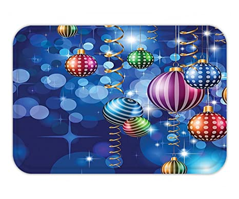 minicoso doormat christmas decorations happy new year themed party decorations with swirling ornaments and balls print