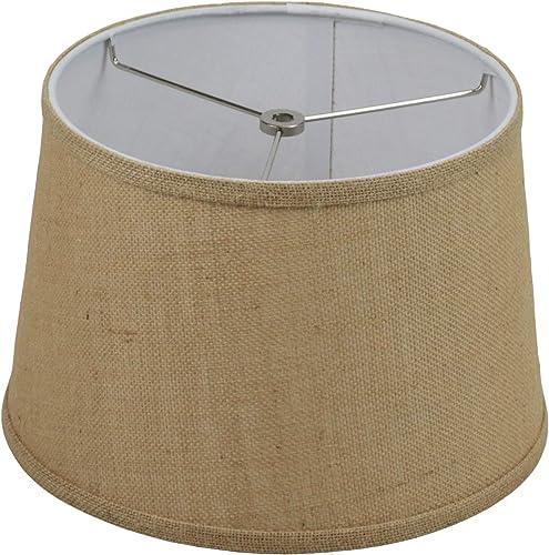 FenchelShades.com 10 Top Diameter x 12 Bottom Diameter 8.5 Height Fabric Drum Lampshade Spider Attachment Natural Burlap