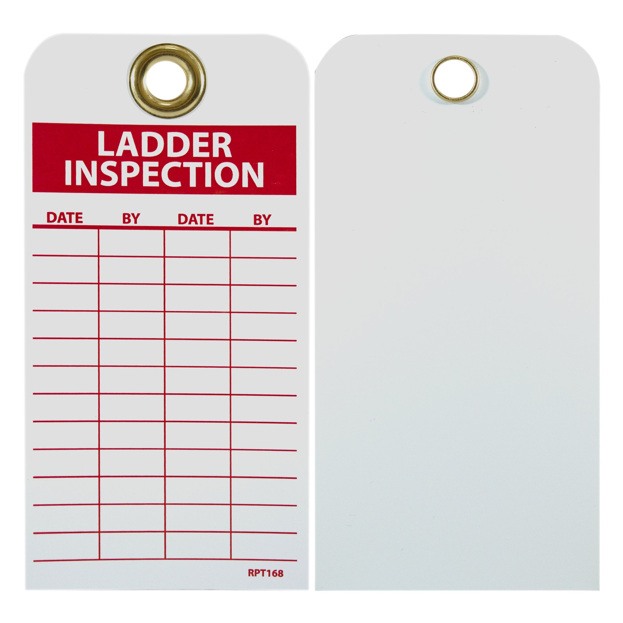 "NMC RPT168G Accident Prevention Tag with Brass Grommet, ""LADDER INSPECTION"", Unrippable Vinyl, 3"" Length x 6"" Height, Red on White (Pack of 25)"