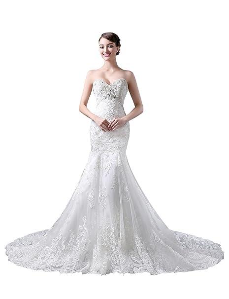 Adasbridal-Tul vestido de novia sirena elegante con apliques de encaje y los granos