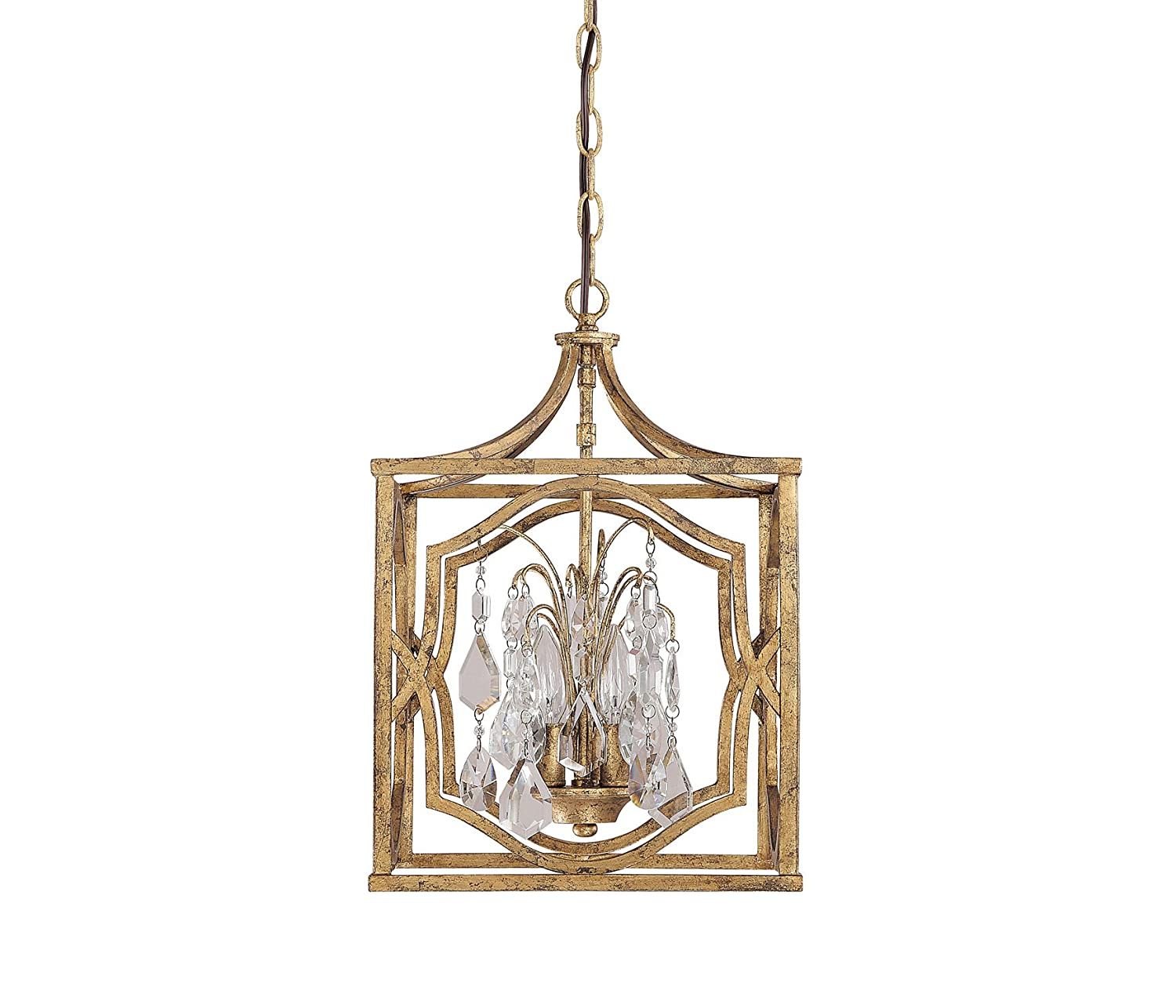 capital lighting 9481agcr blakely 3light foyer fixture antique gold finish with clear crystal accents ceiling pendant fixtures amazoncom - Capital Lighting