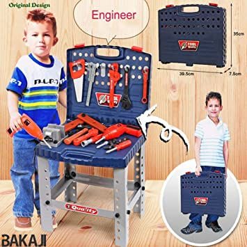 BAKAJI Banco da Lavoro per Bambini 69 Pezzi Portatile da