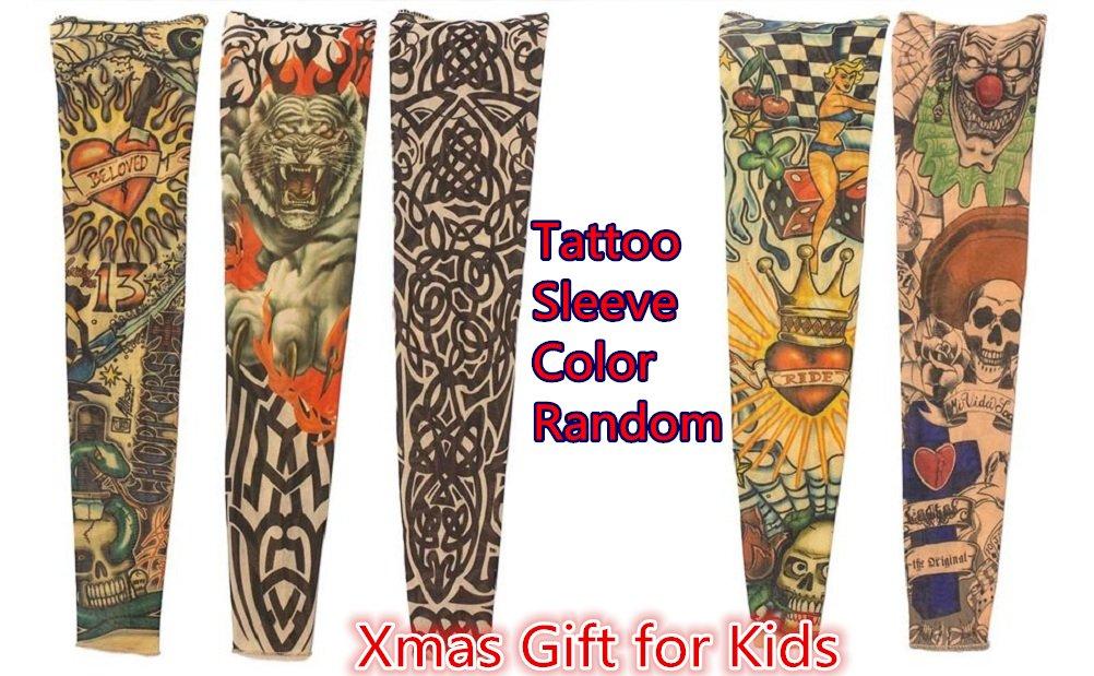2909b47c6 Amazon.com: Tattoo Sleeve for Kids, Arts Fake Slip on Arm Sunscreen Sleeves  Body Art Stockings Protector 5 pcs -Designs Tribal, Tiger, Dragon, Skull,  ...