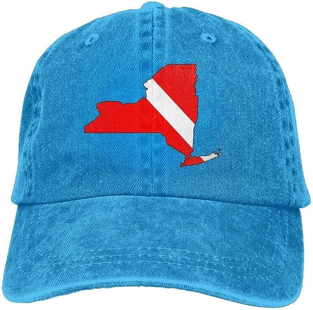 Transpirable Ocio Sombrero,Cómoda Sombrero De Deporte,Secado Rápido Dad Hat,Hombres Y Mujeres New York Scuba Dive Flag Map-1 Vintage Jeans Gorra De Béisbol