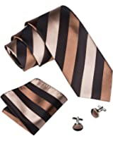 Barry.Wang Stripe Ties Pocket Square Cufflinks Set Classic Necktie for Men