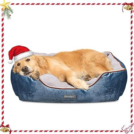 Docatgo Camas para Perros, Cama para Mascotas con Suave cojín Desmontable 80x60x25cm, Perros De Perrito Sofa con Suave cojín Desmontable