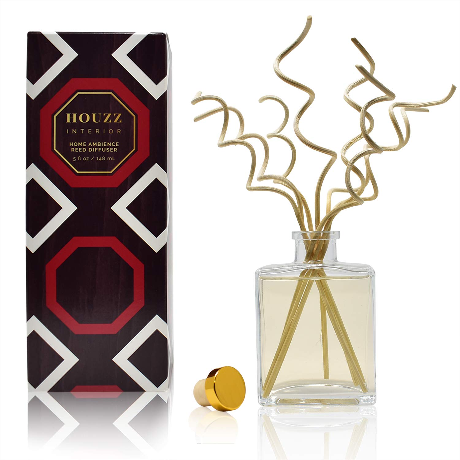 HOUZZ Interior Diffuser Sticks Pumpkin Pie Reed Diffuser Oil with Decorative Curly Reed Sticks - Sweet Pumpkin, Nutmeg, Molasses and Cinnamon - Great Fall and Autumn Bakery Scent - Made in the USA by HOUZZ Interior