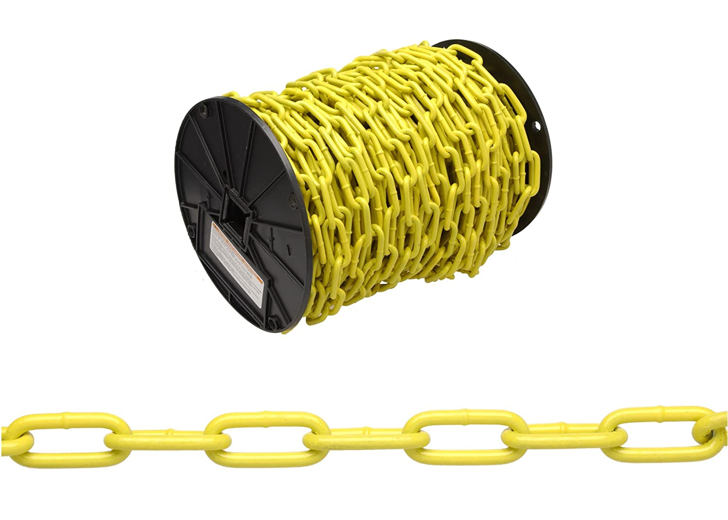CAMPBELL PD0722627 Low Carbon Steel Straight Link Coil Chain, Yellow Polycoated, 2/0 Trade, 0.19-Inch Diameter, 520-Pound Load Capacity, 120 Feet Reel 0.19 Inch Diameter 520 lbs. Load Capacity