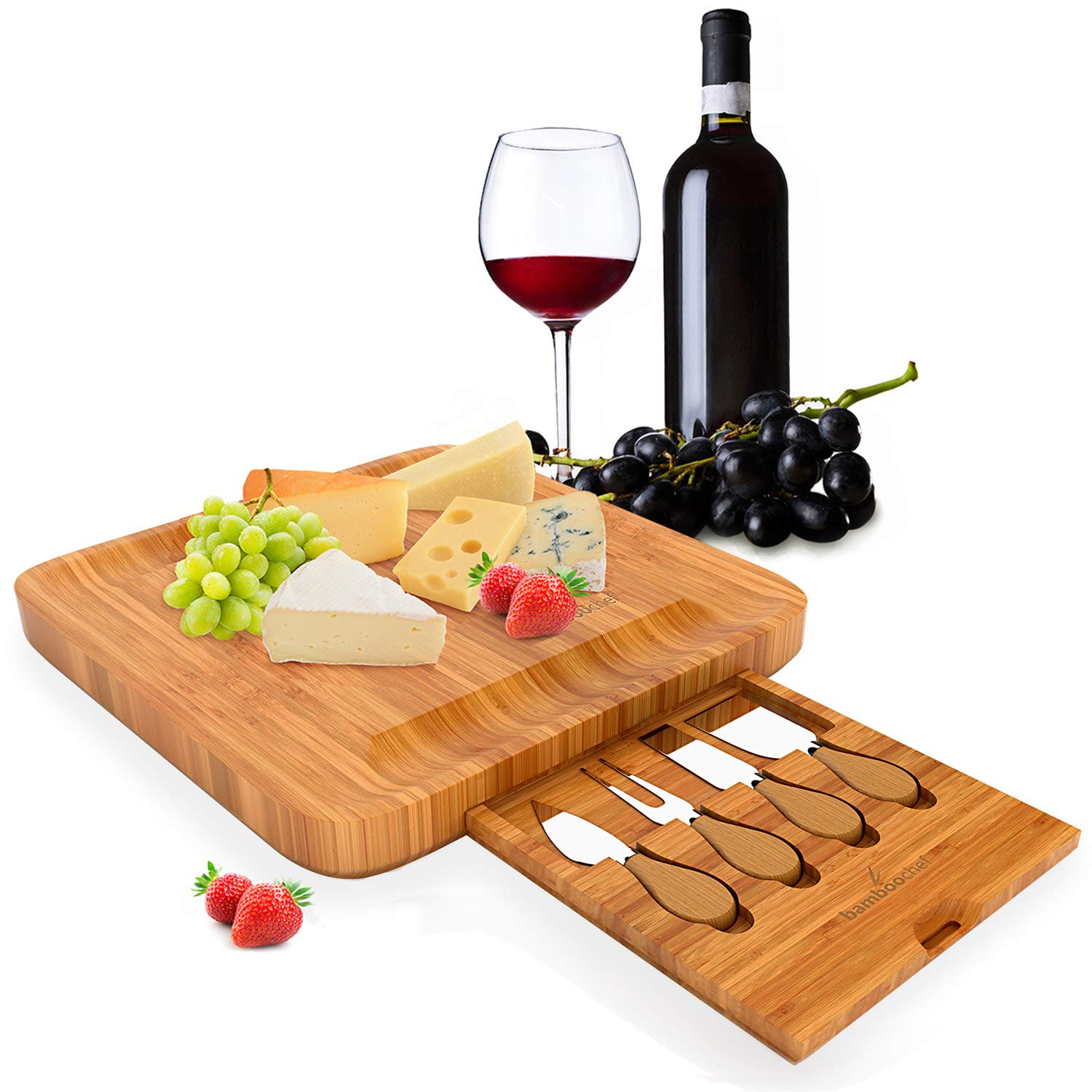 Bamboo Cheese Board with Cutlery Set – Includes Slide-Out Drawer with 4 Stainless Steel Knife and Server Set, Perfect Cheese Platter, Wooden Charcuterie Serving Platter – Perfect Gift Idea