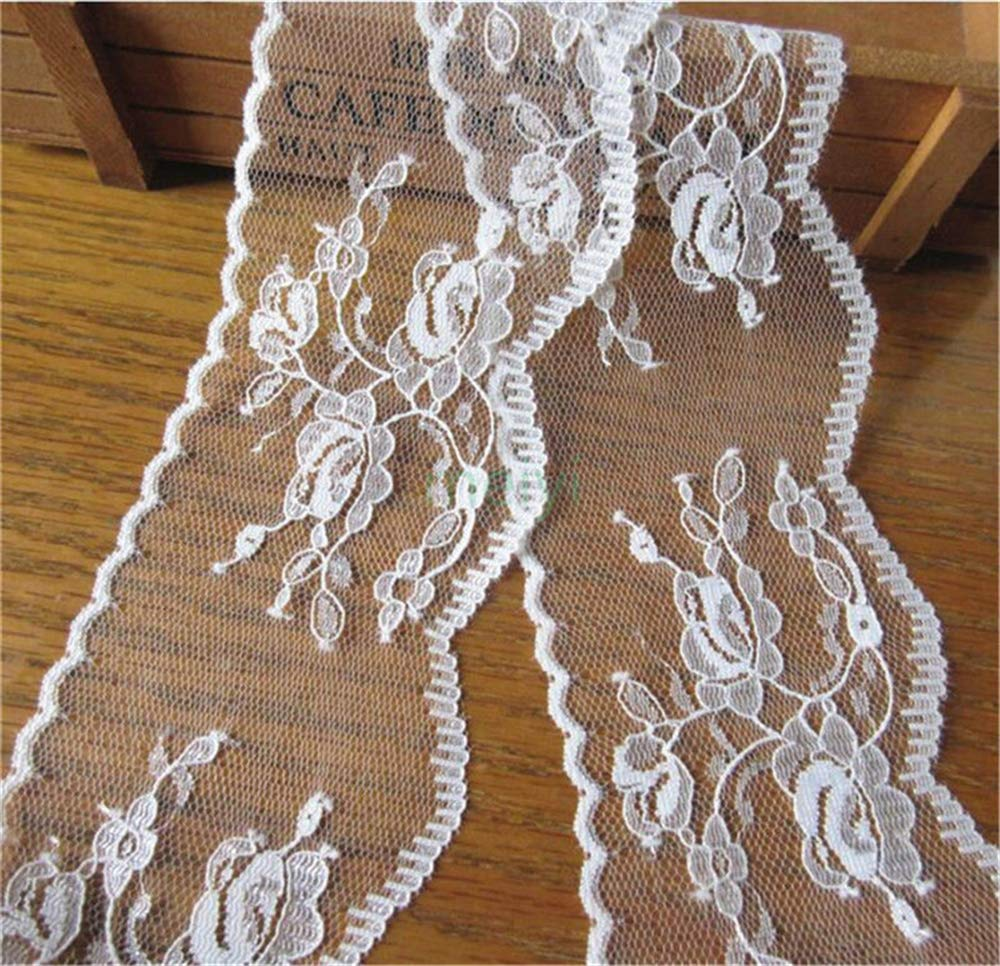 10 Metres Soft Nylon Scalloped Net Lace Edge Trim Ribbon Vintage Style Off White Edging Trimmings Fabric Embroidered Applique Sewing Craft Wedding Bridal Dress Underwear Bra Clothes Flower 1: 65mm