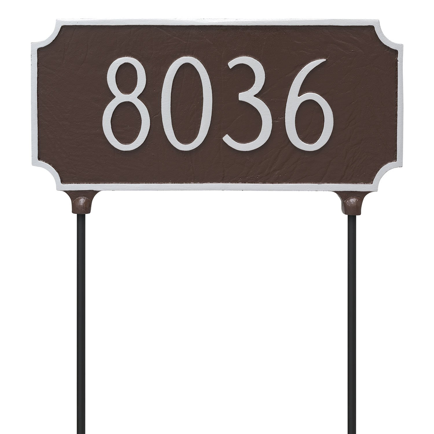 Montague Metal TSL-0005S1-L-BG Double Sided Lawn Princeton Address Sign Plaque with Stake, 7.25'' x 15.75'', Black/Gold