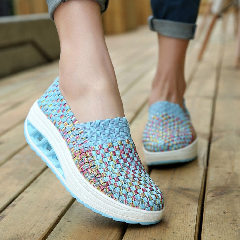 Amazon.com | Overmal Sneakers Women Fashion Woven Shake Shoes Leisure Wedge Sports Shoes Running Casual Shoes | Fashion Sneakers