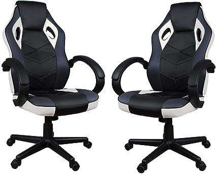 Giosedio Weiß Schwarz FBH042 Gaming PC Sessel Bürosessel Chefsessel Bürostuhl