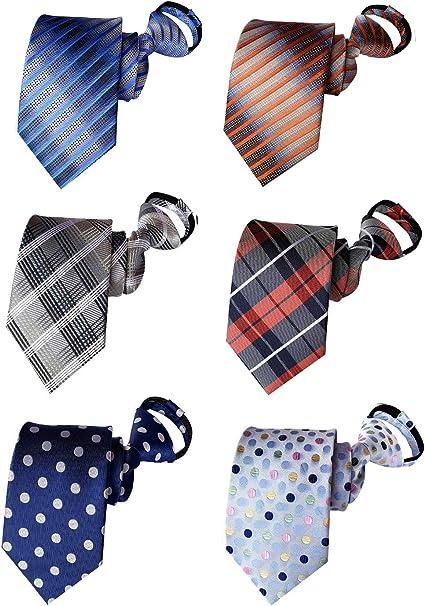 BESMODZ Mens Pretied Zipper Tie Solid Color Striped Silk Skinny Wedding Necktie