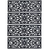 """Rubber Stair Treads - Set of 4 30"""" Outdoor Black Scrollwork Rubber Non-Slip Stair Treads Mat"""