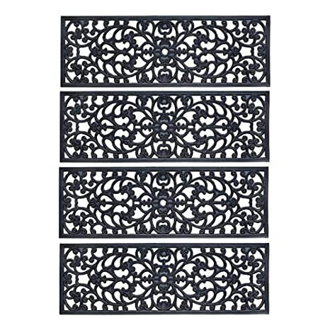 30u0026quot; W Set Of 4 Elegant Outdoor Black Scrollwork Rubber Non Slip Stair  Treads Mat