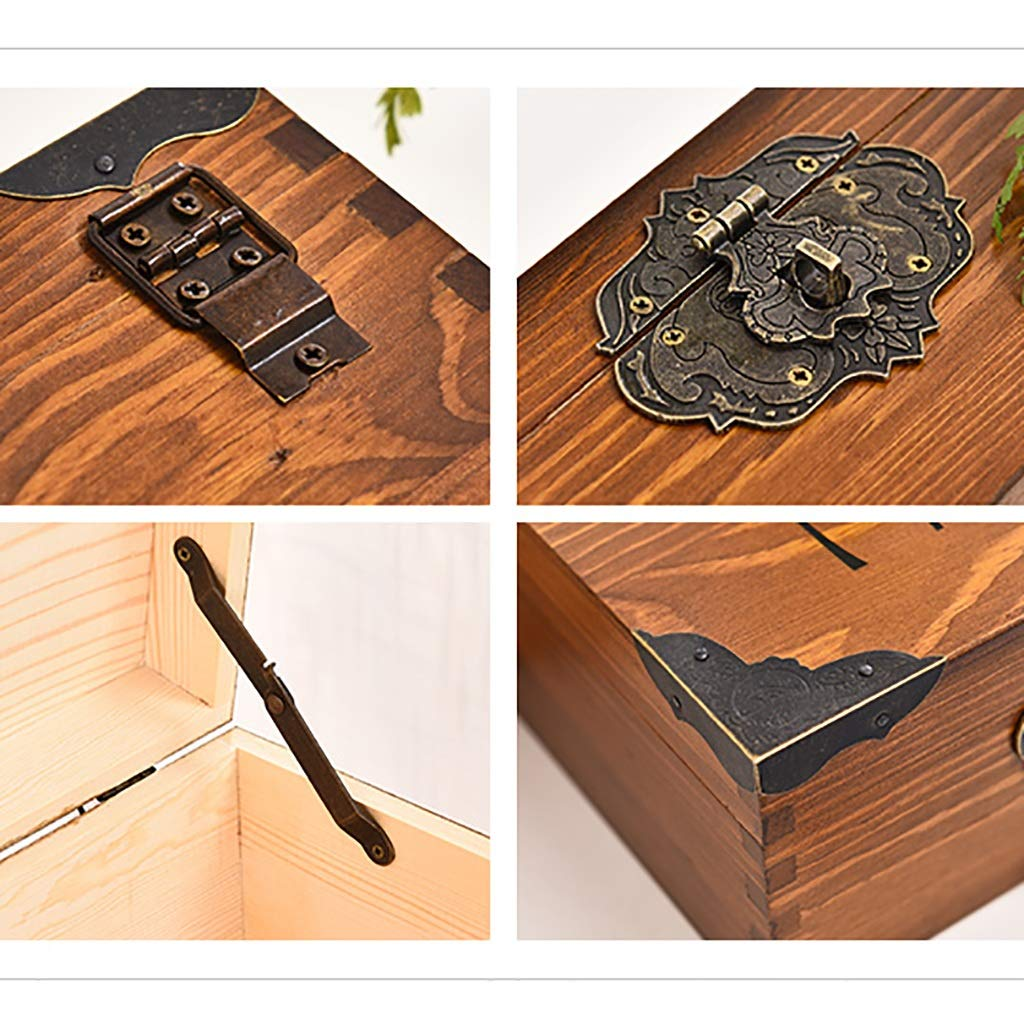 Storage Caja de Almacenamiento Caja de Almacenamiento con Caja Cerradura Retro Caja con de Almacenamiento de Escritorio de Madera Maciza Misceláneas Caja pequeña Hogar (25  17  9 cm) (Color : D) 81c20b