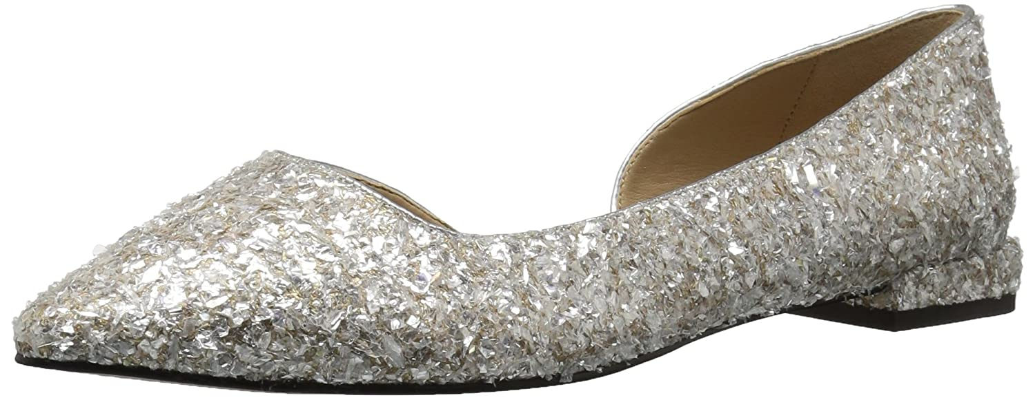 The Fix Women's Emma Pointed-Toe D'Orsay Ballet Flat B072V8QPTV 10 B(M) US|Silver Ice Textile