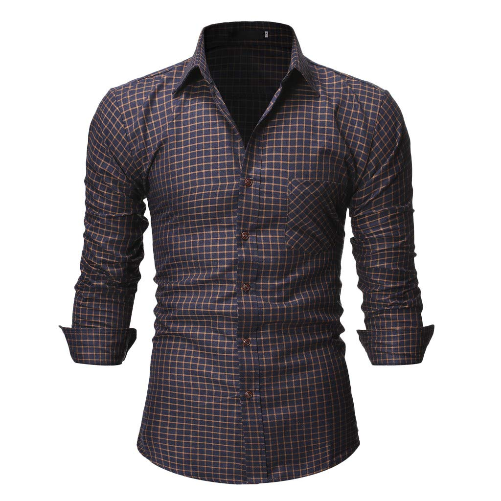 Mens Summer t Shirts Short Sleeve Tronet Men's Casual Normal Plaid Floral Business Long Sleeve Button T-Shirt Top Blouse by Tronet Men's tops