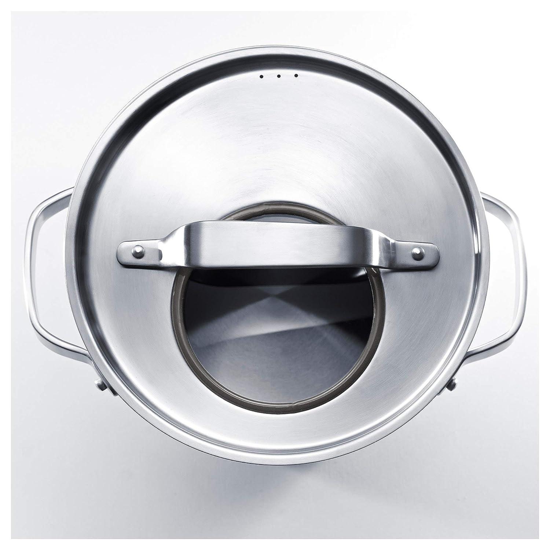 Olla con tapa de acero inoxidable/gris, tamaño montado: 12 ...