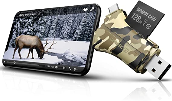 Trail Camera Viewer SD Card Reader - 4 in 1 SD and Micro SD Memory Card Reader to View Hunting Game Camera Photos or Videos on Smartphone