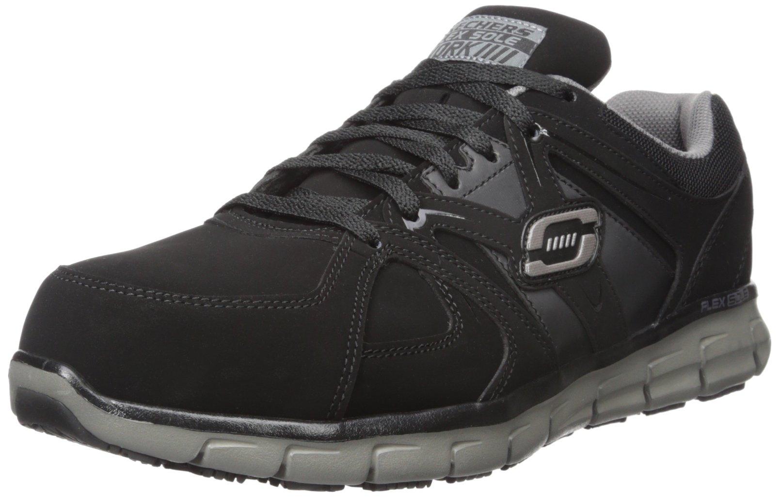 Skechers for Work Men's Synergy Ekron Work Shoe,Black/Charcoal,10 W US by Skechers