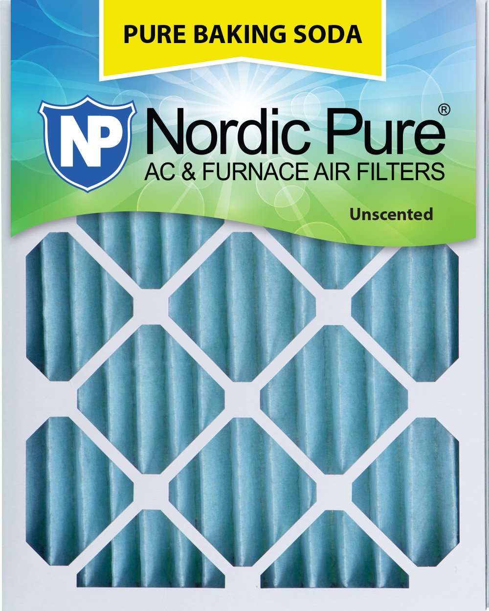 "Nordic Pure 20x25x2 Pure Baking Soda Odor Deodorizing AC Furnace Air Filters, 20"" x 25"" x 2"", 3 Piece"