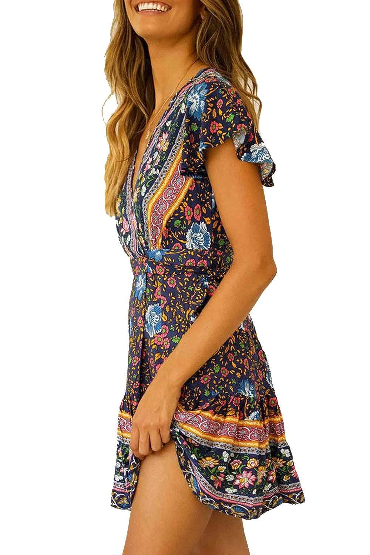 Ehpow Sommerkleid Damen Boho V-Ausschnitt Vintage A-Linie Minikleid Swing Strandkleid mit G/ürtel