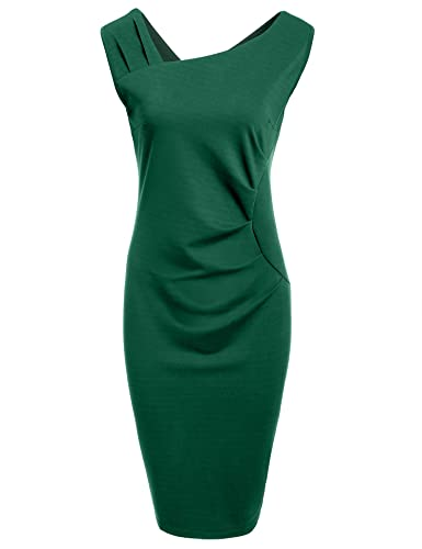 HOTOUCH Women's Vintage Sleeveless Ruffles Business Bodycon Pencil Dress